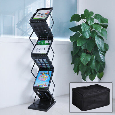 Folding 6 Pocket Magazine Display Holder Stand Pop up Trade Show Brochure Rack
