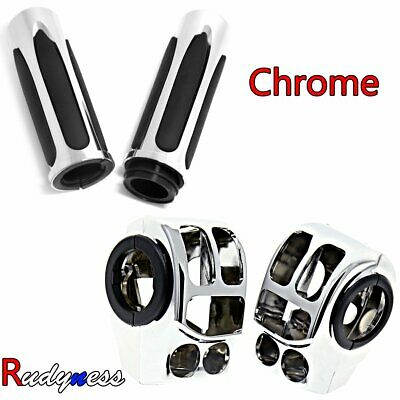 Chrome Handlebar Control Switch Housing&Hand Grips For Harley Touring FLHX 14-18