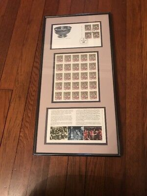 NHL STANLEY CUP Centennial Canadian 1st Day Postal Cover, Sheet Stamps- Framed