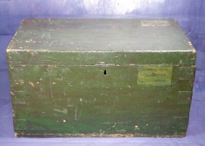Antique,Pine,Chest,Green,Blanket,Trunk,Travel,Steamer,Box,Captains Sea Chest