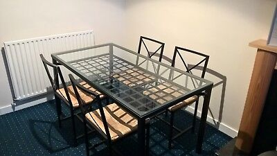 Gl And Black Metal Dining Table 4 Chairs Ikea Granas