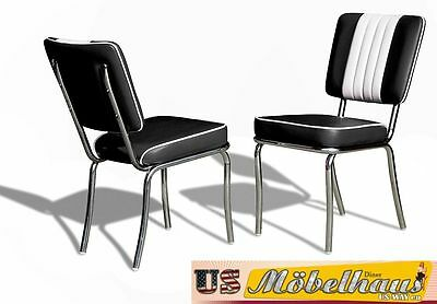 CO-24 Black Bel Air Furniture 2 Chairs Diner Kitchen in the Style of 50 Piece