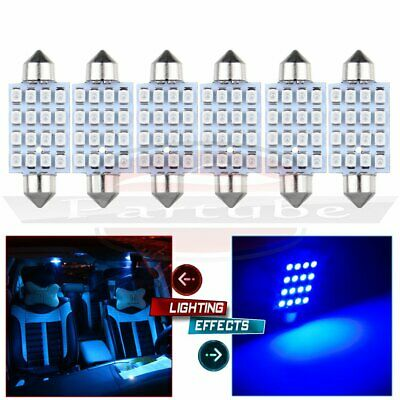 6x 42MM 16-SMD-3528 Blue Festoon Light Car LED Dome Map Reading Cargo Bulb Lamp