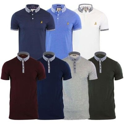 Da Uomo Polo T Shirt Brave Soul Vangelo in denim con colletto manica lunga Top Casual