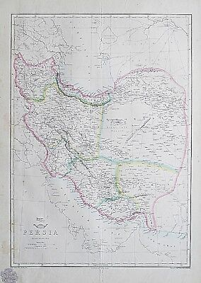 1857 Persia Iran Genuine Antique Dispatch Atlas Map