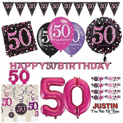 50th PINK Celebration Birthday Party Supplies Balloons Tableware & Decorations