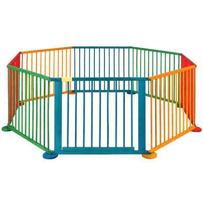 Baby Children Wooden Foldable Playpen Play Pen Heavy Duty Home Divider 8 Panels