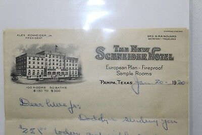 Vintage 1930 THE NEW SCHNEIDER HOTEL Stationery Letterhead Pampa, Texas