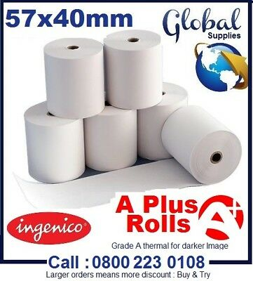 20 Thermal Paper Till Rolls 57 x 40mm - BEST PRICE for Credit Card PDQ Machines