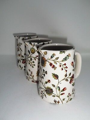 BN Cream Pottery Tudor Rose Floral Chintz Style Pitcher Jug, Very Small Milk Jug