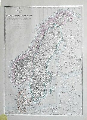 1860 Scandinavian Kingdoms Norway Sweden Denmark Antique Dispatch Atlas Map