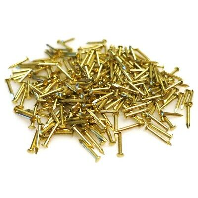 300x Brass Nails | Small 10mm Pins Round Head Shoe Repair Hobby Wall Hanging