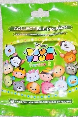 Disney Parks Pin TSUM TSUM SERIES 2 Random Mystery 1 Pack of 5 Pins