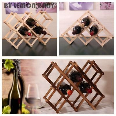 Wooden Wine Rack Beer Foldable 3/6/10 Bottle Holder Bar Display Shelf Organizer