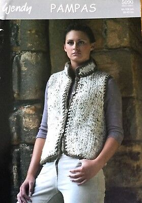 Wendy DK Knitting Pattern For Ladies Waistcoat Gilet   Size 32/42""
