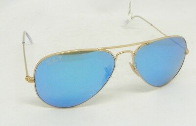e771a34bd7a Ray-Ban RB3025 112 4L Aviator 58mm Ice Blue Mirror POLARIZED Matte Gold