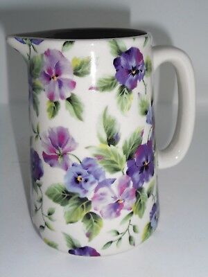 BN Cream Pottery Pansy Floral Chintz Style Pitcher Jug Small Milk Jug
