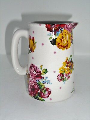 BN Cream Pottery Flowers and Spots Chintz Style Pitcher Jug Small Milk Jug