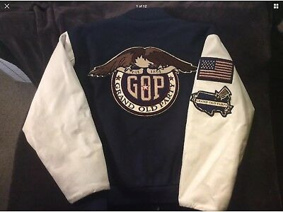 Republican Jacket VINTAGE Grand Old Party GOP L Large RARE Leather Sleeves TRUMP