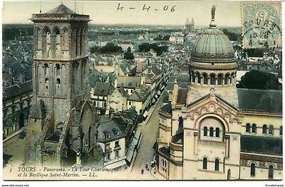 CPA - Carte postale -France -Tours - Panorama - La tour Charlemagne  1906