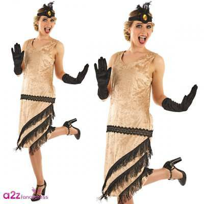 Womens 20u0027s Charleston Flapper Gangster Chicago Gatsby Adult Fancy Dress Costume  sc 1 st  PicClick UK & LADIES 1920S FLAPPER Costume Gatsby Fancy Dress Gangster Womens ...