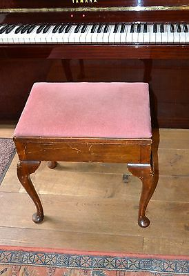 Vintage solid oak piano bench velvet padded piano stool old