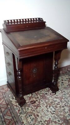 Antique Mahogany Davenport Desk On Castors, With Birdseye Maple Veneer Interior.