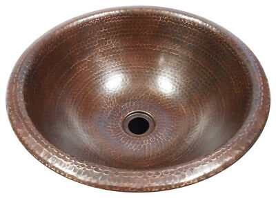"15"" Round Copper Bath Sink DROP IN Style in Brushed Sedona Finish"