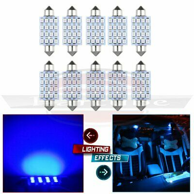 10x 42MM Bulb Festoon 16SMD 3528 Dome Map Super Blue LED Interior Lamp Light 578