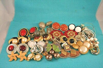 Mixed Vintage Now CHUNKY Clip on Earring Lot s316 LQQK Wear Repair Resell Dstash