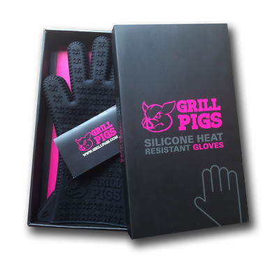 Grill Pigs BBQ Gloves | Heat Resistant Silicone Oven Mitts | Grilling or Cooking