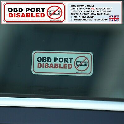 2 x OBD PORT DISABLED car window stickers, theft prevention, deterrent