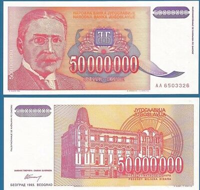 YUGOSLAVIA 50,000,000 (50000000) Dinara, 1993, P-133, XF-aUNC World Currency