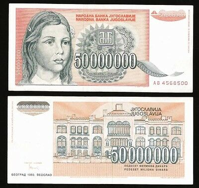 YUGOSLAVIA 50000000 (50 Million) Dinara, 1993, P-123, World Currency