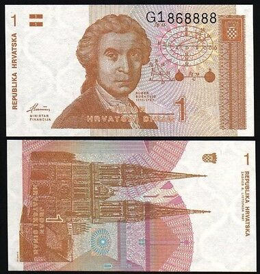CROATIA 1 Dinara, 1991, P-16, UNC World Currency