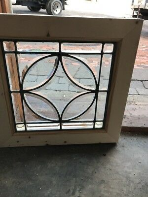 Sg 2002 Antique All Beveled Glass Small Window 17 5/8 X 17.25