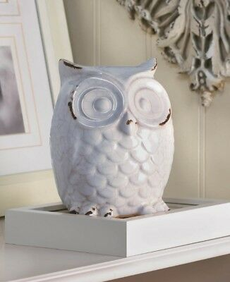 Distressed White Owl Table Top Figurine Statue Cracked Glaze Finish