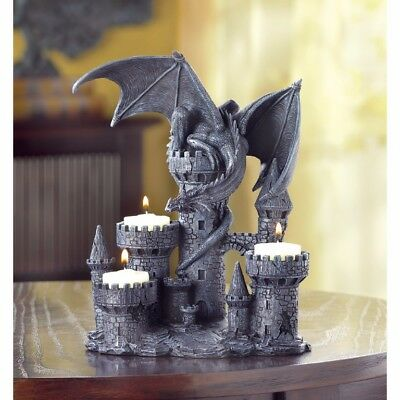 Medieval Dragon & Castle Tealight Candle Holder