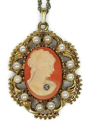 Beautiful Vintage Cameo With Pearls Surround and Diamond Pendant and Chain