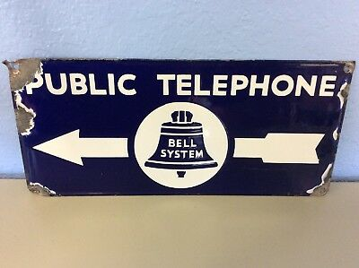 Vintage Double Sided Bell System Public Telephone Porcelain Sign