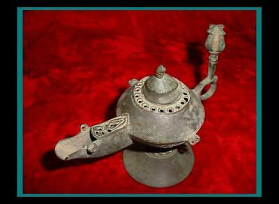OLD Ancient BRONZE ROMAN OIL LAMP w/ GLADITOR Style Morning Star MACE on Handle