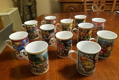 Lot 12 M&Ms Danbury Mint Porcelain Collector Mugs m&m -MANY PICTURES - No Flaws