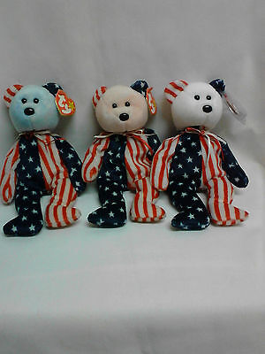 3 Orignal Retired Ty Beanie Babies - Spangles - Blue, Pink, & White Face - Mwt