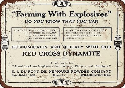 """7"""" x 10"""" Metal Sign - 1910 Red Cross Dynamite Farming With Explosives - Vintage"""