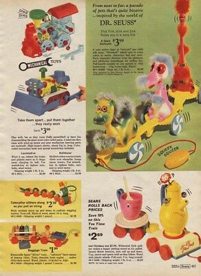 1969 Xmas cat pg Dr.Seuss Pull Toy Yink Gink Zink Hippity Hop Ball