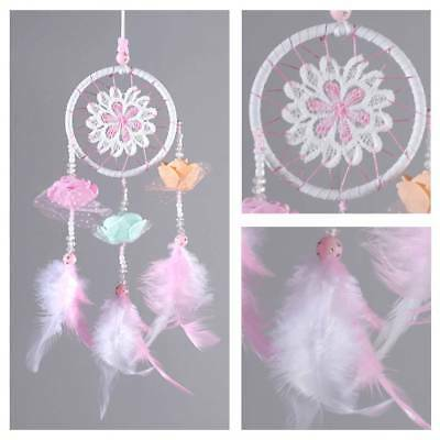 Pink Handmade Knitted Dream Catcher Home Bedroom Wall Hanging Ornament Kids Gift