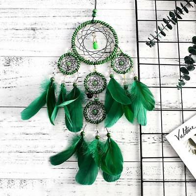 50cm Green Handmade Dream Catcher with Feathers Home Car Hanging Ornament Decor
