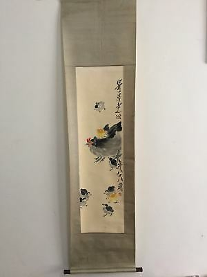 Excellent old Chinese Scroll Painting By Qi Baishi:hen and chicken  x026