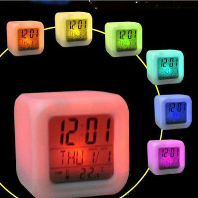 Digital Alarm Thermometer Night Glowing Cube 7 Colors Clock LED Change Time Nice