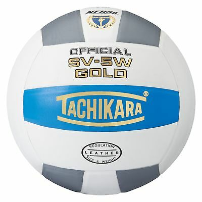 Tachikara Sv5W Gold Competition Premium Leather Volleyball, Blue/White/Silver